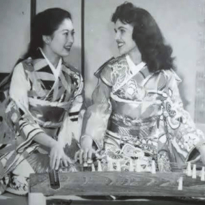 Wanda Jackson with an unidentified Japanese woman, both wearing kimonos