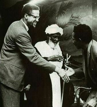 Malcolm X in Sudan with Sheik Ahmed Hassoun, 1959.