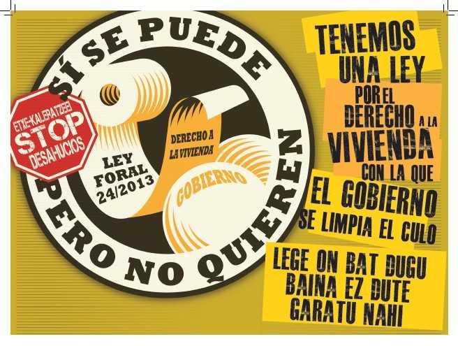 cartell a Navarra de denúncia pisos públics buits.