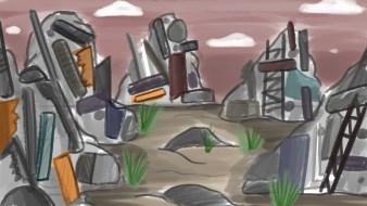 Robots_in_a_junkyard_painting_Environment_concept_art_3a