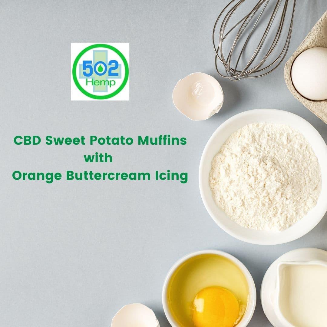 CBD Sweet Potato Muffins with Orange Buttercream Icing