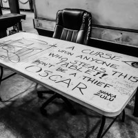 A Curse Upon Anyone Who Steals This Table, French Market by Night, New Orleans, August 10, 2014