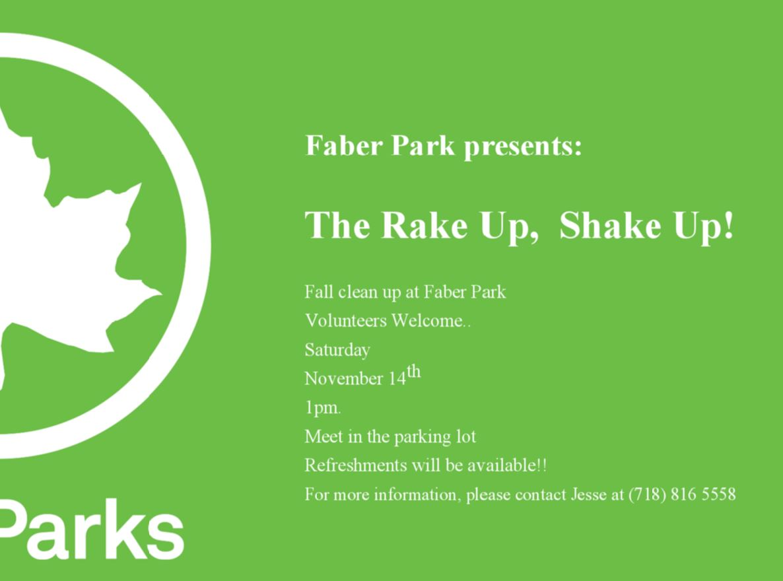 Volunteer At Faber Park Clean Up - Tommorrow - Saturday Nov 14th