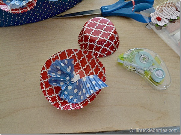 cupcake liner flower assembly