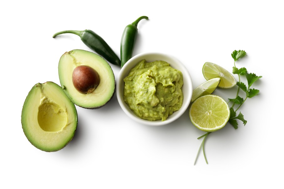 TexMex Food: Guacamole and Ingredients Isolated on White Background