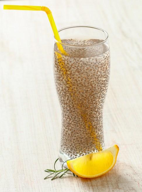 Chia seeds lemonade on wooden table