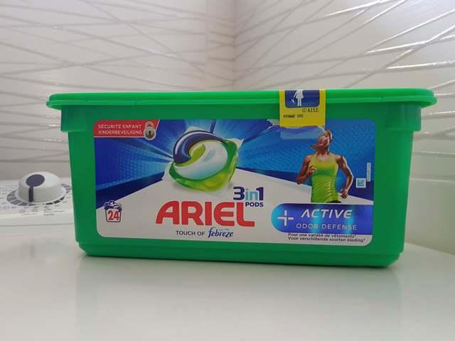 ariel 3 en 1 pods active odor defense