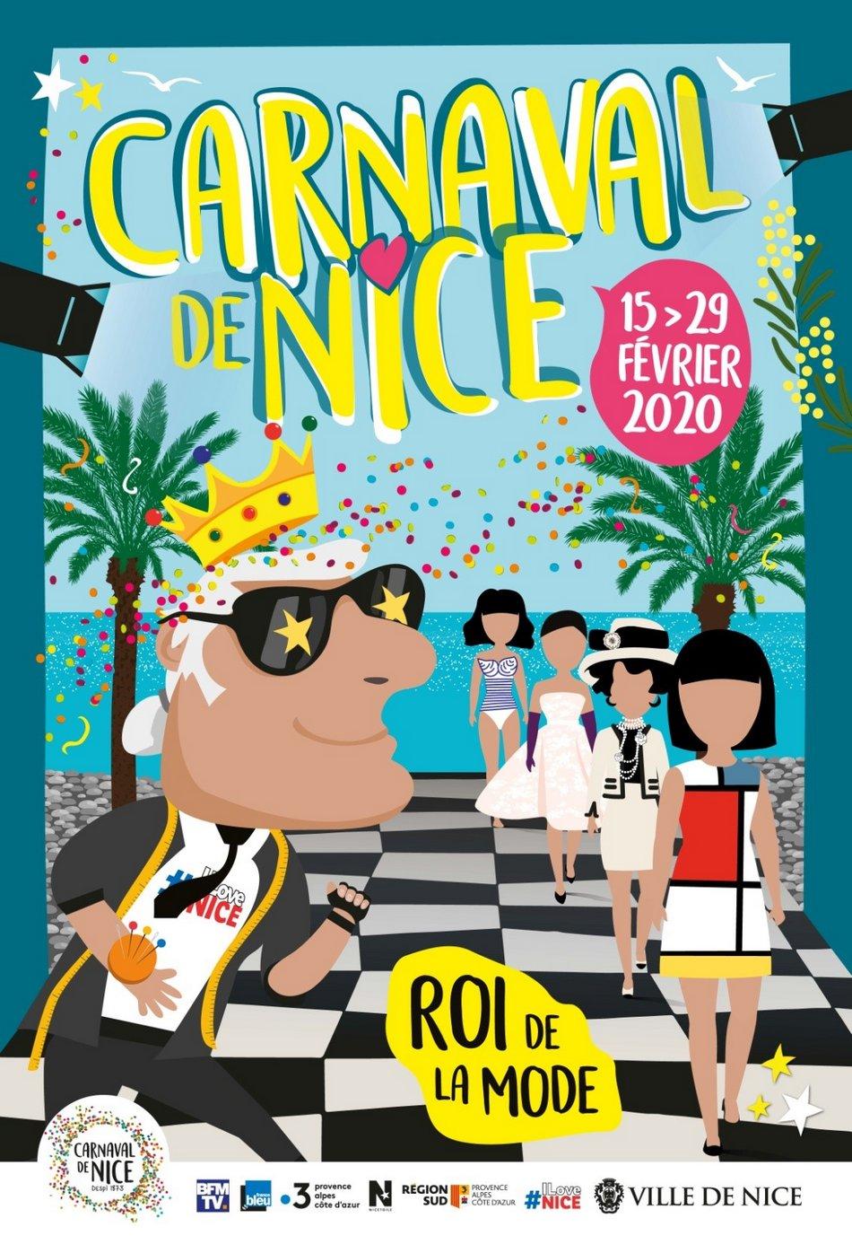 affiche du carnaval de Nice 2020 roi de la mode
