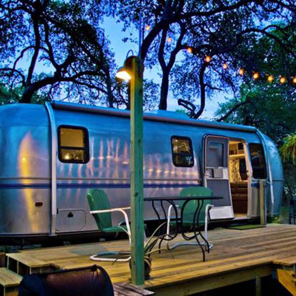 airbnb outdoor accommodations include a retro airstream in Texas not far from Austin