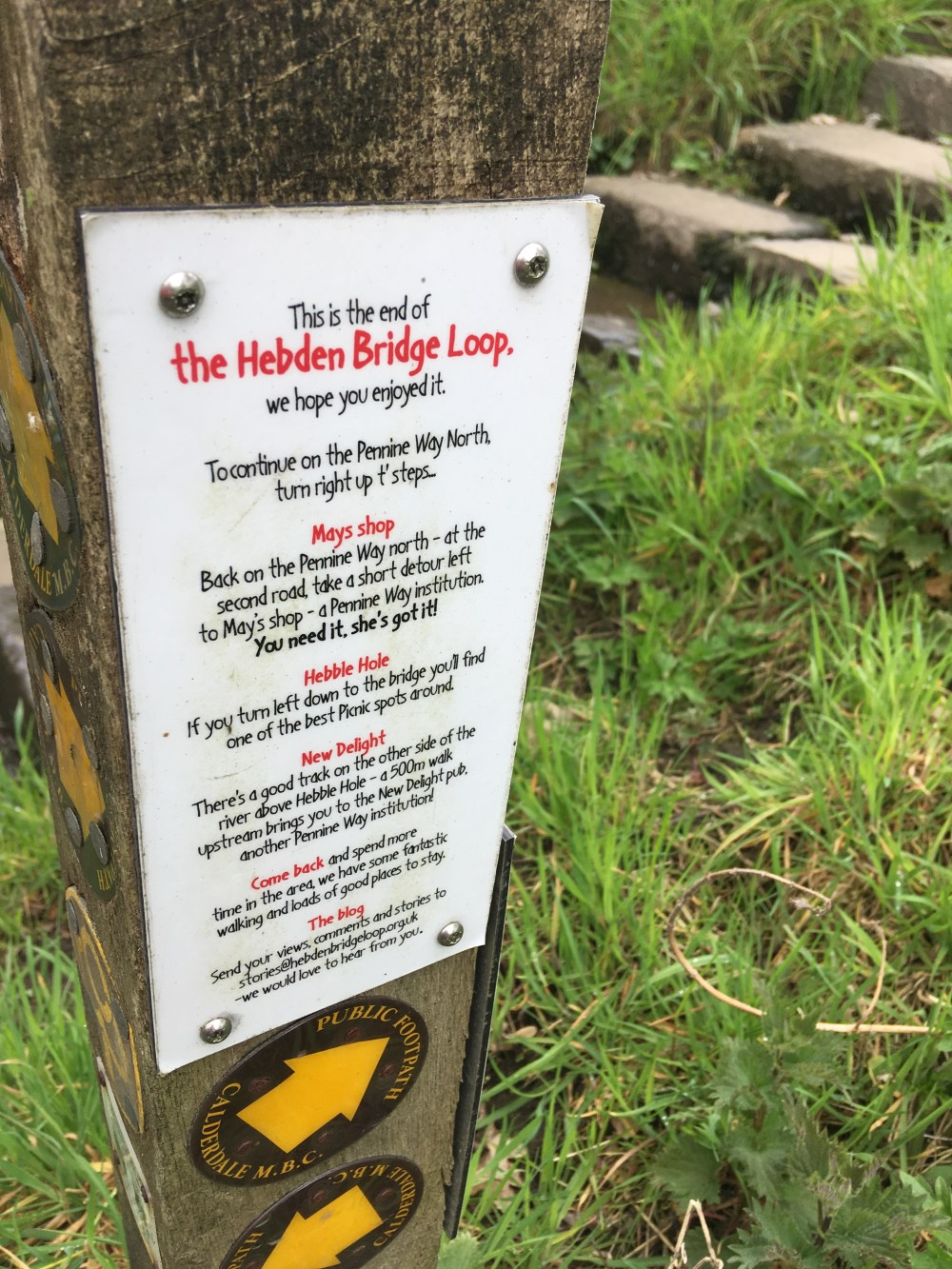 End Hebden Bridge Loop sign, LEJoG Day 43