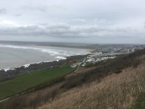 Leaving the coast at Westward Ho!, Devon, to head inland (Day 13)