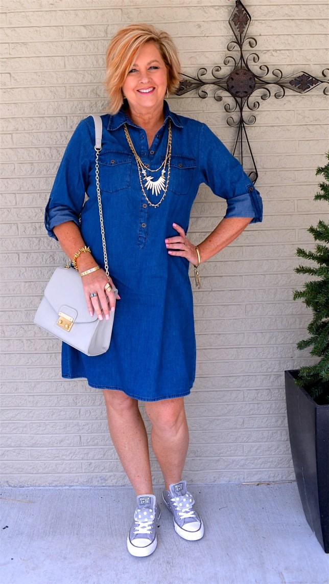 How To Style A Denim Dress Casually 50 Is Not Old