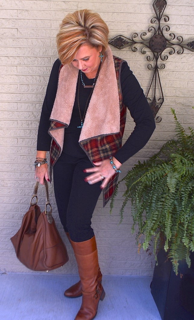 50 IS NOT OLD | PLAID SHERPA VEST