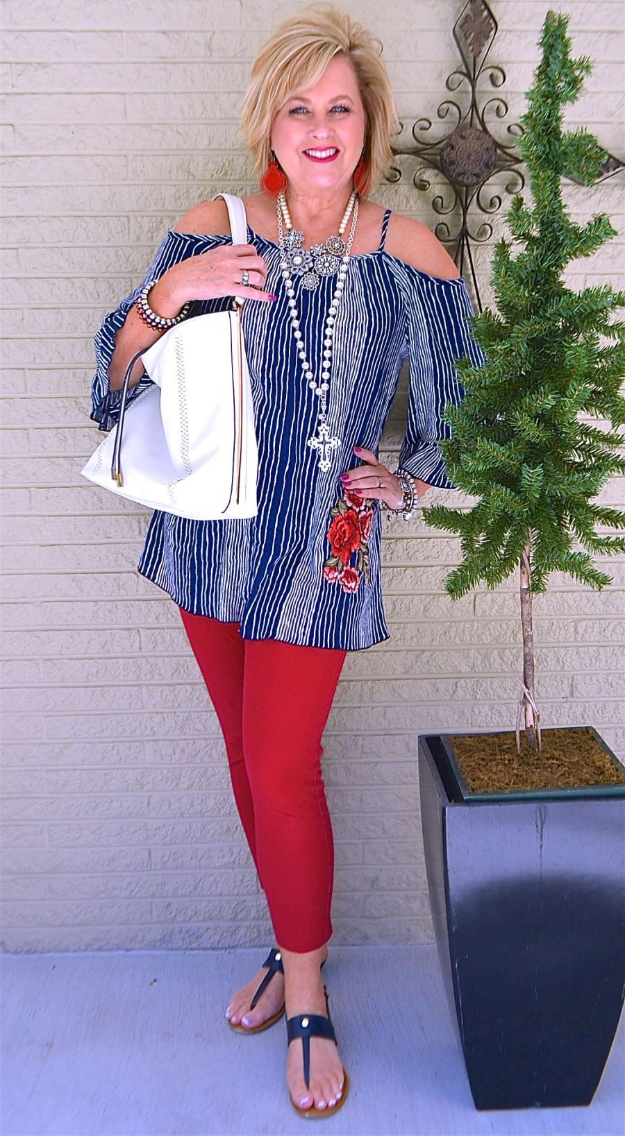50 IS NOT OLD | COLD SHOULDER, STRIPES, AND EMBROIDERY