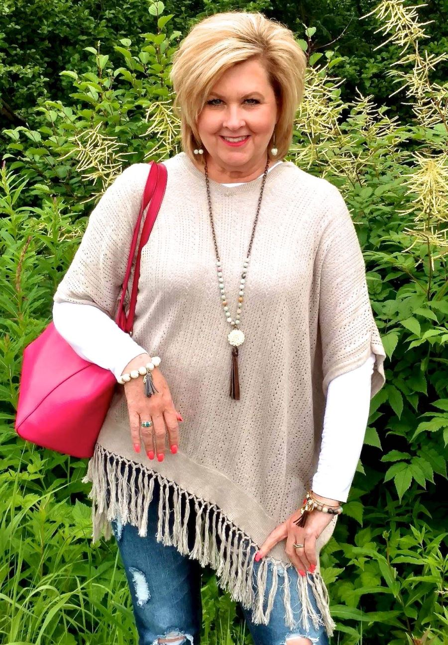 50 IS NOT OLD | A SUMMER PONCHO LOOK