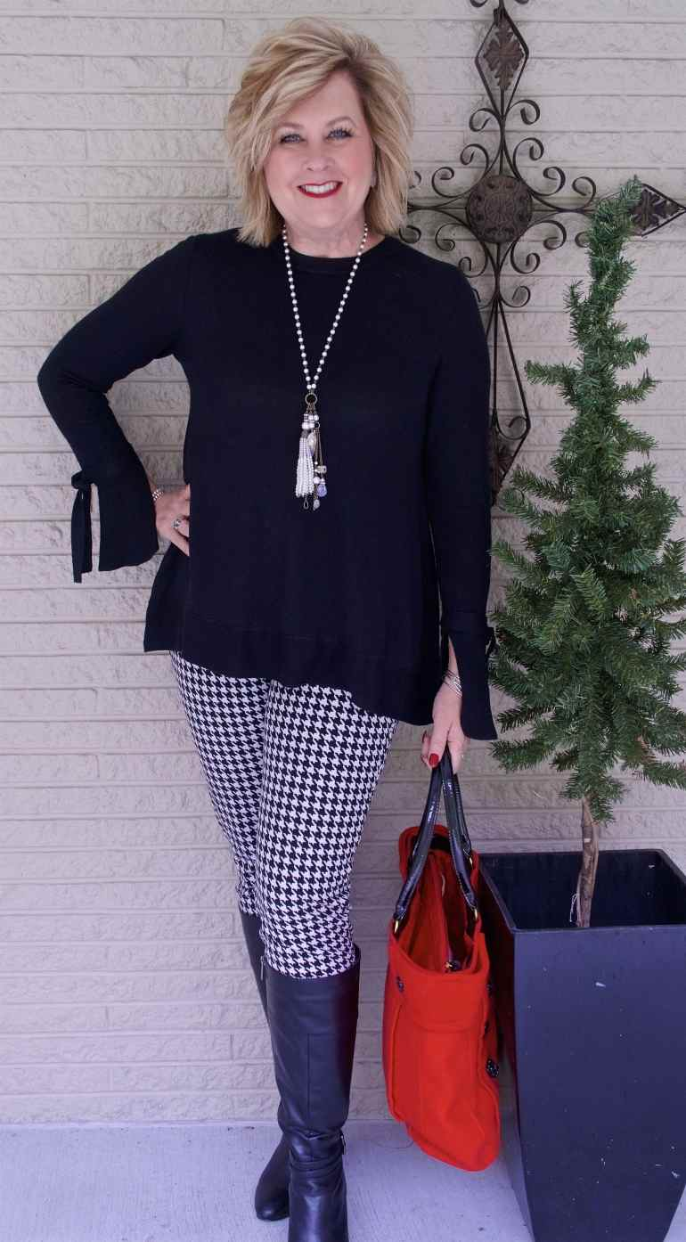 50 IS NOT OLD | WEARING A BELL SLEEVE SWEATER