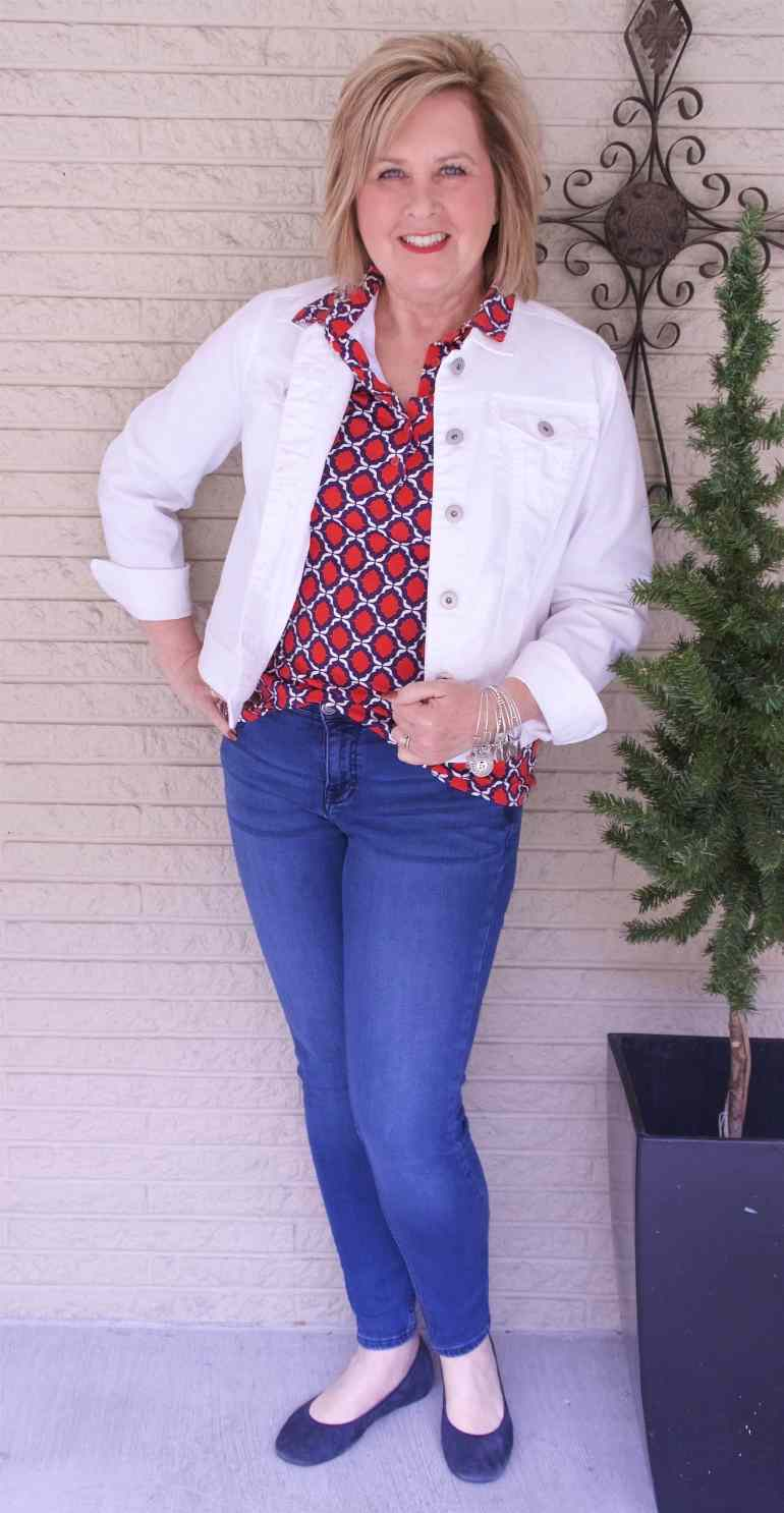 50 IS NOT OLD | HOW TO WEAR A WHITE DENIM JACKET | FASHION OVER 40