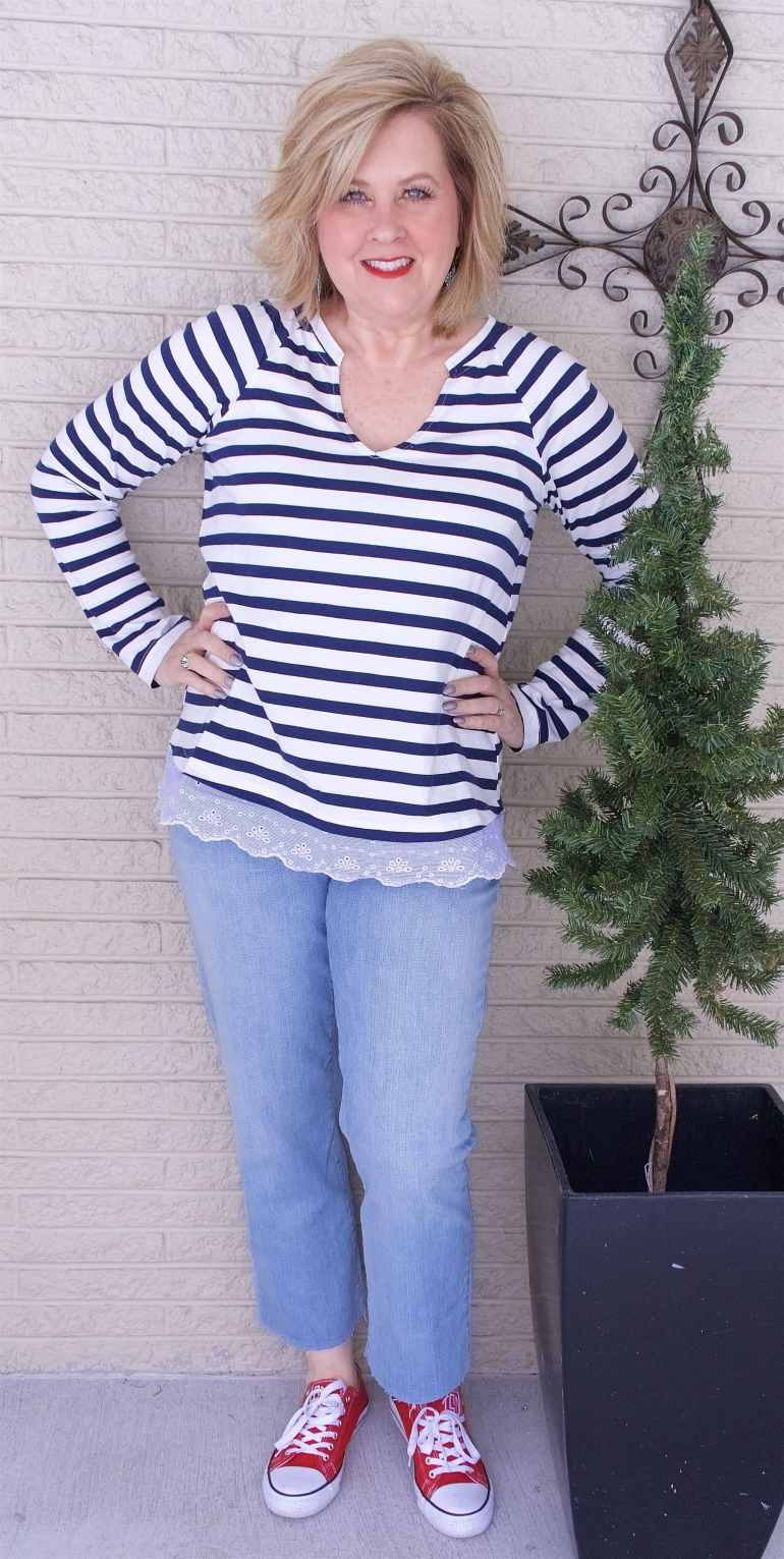 50 IS NOT OLD | SAILOR STRIPES AND EYELET TRIM | FASHION OVER 40