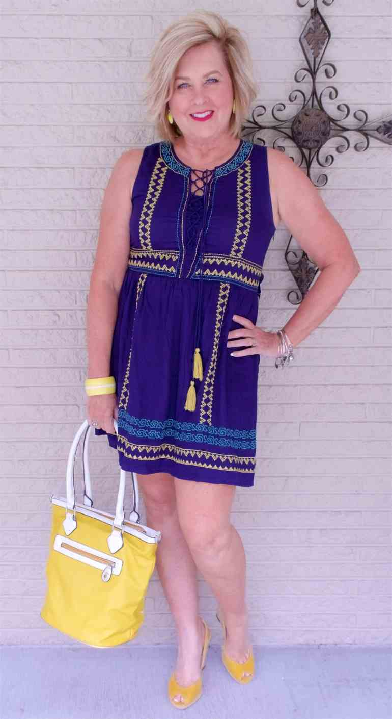 50 IS NOT OLD | SLEEVELESS EMBROIDERED DRESS | FASHION OVER 40