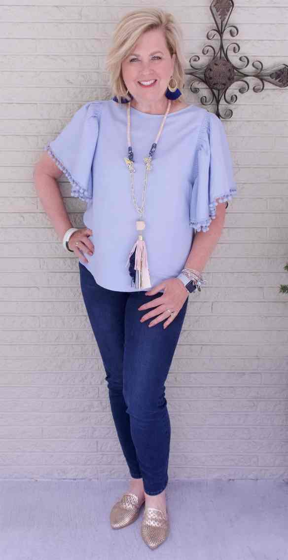 50 IS NOT OLD | FLUTTER SLEEVES AND POMPOMS | FASHION OVER 40