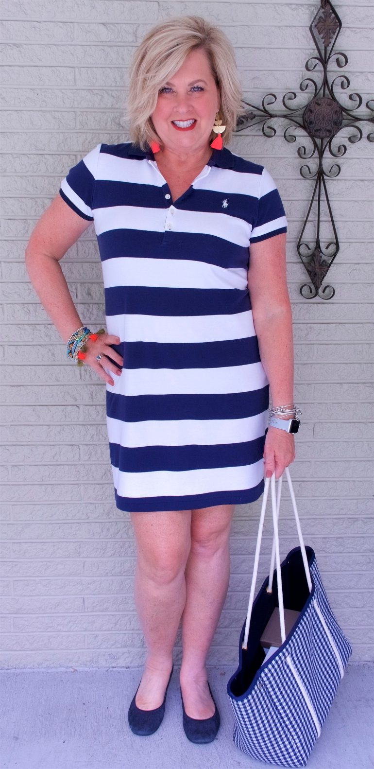 50 IS NOT OLD | A STRIPED T-SHIRT DRESS IS CLASSIC AND COMFORTABLE | FASHION OVER 40