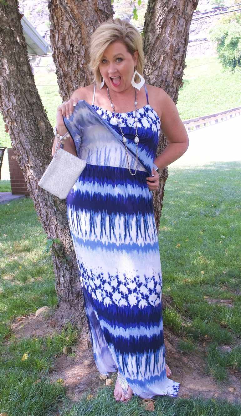 50 IS NOT OLD | TIE-DYE POPOVER MAXI DRESS | FASHION OVER 40