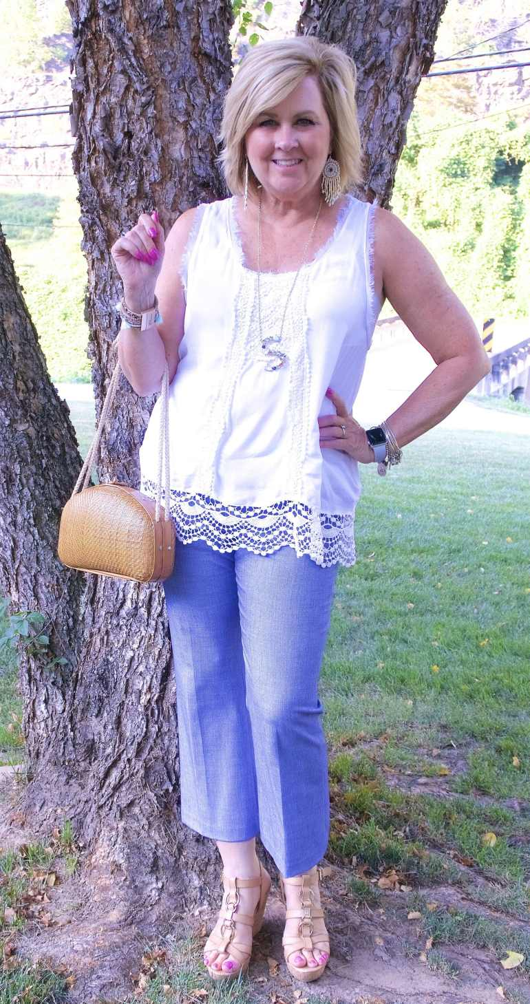 50 IS NOT OLD | CROCHET DETAILS AND KICK FLARE PANTS | FASHION OVER 40