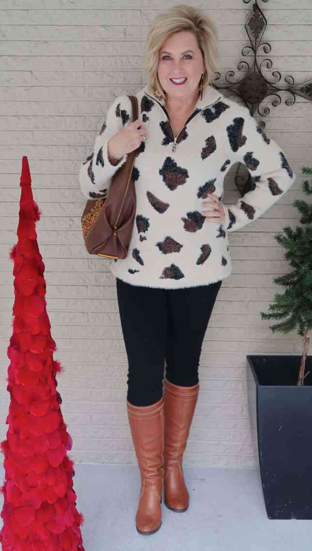 50 IS NOT OLD   A LARGE LEOPARD PRINT SWEATER   FASHION OVER 40