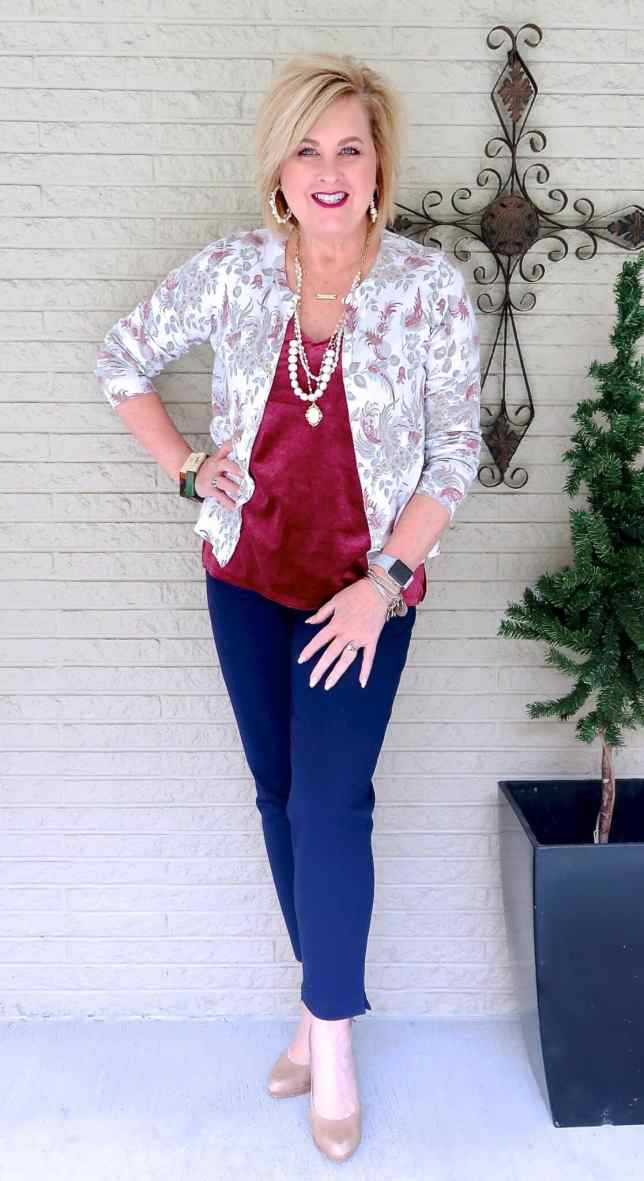 50 IS NOT OLD | VELVET AND NAVY ANKLE PANTS | FASHION OVER 40