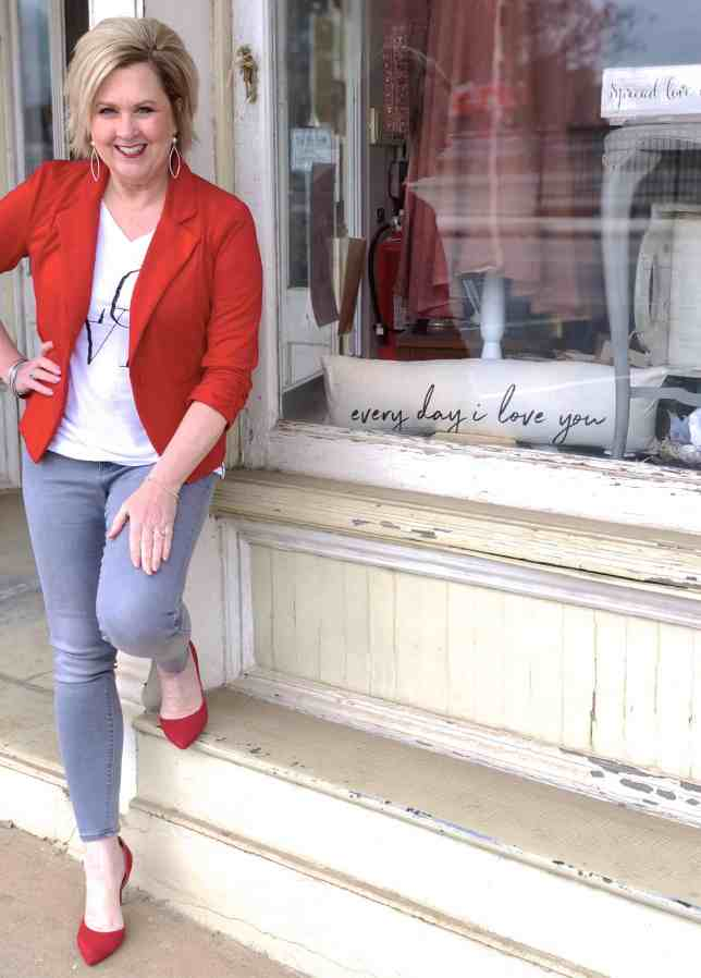50 IS NOT OLD | CASUAL VALENTINE'S DAY OUTFIT | FASHION OVER 40