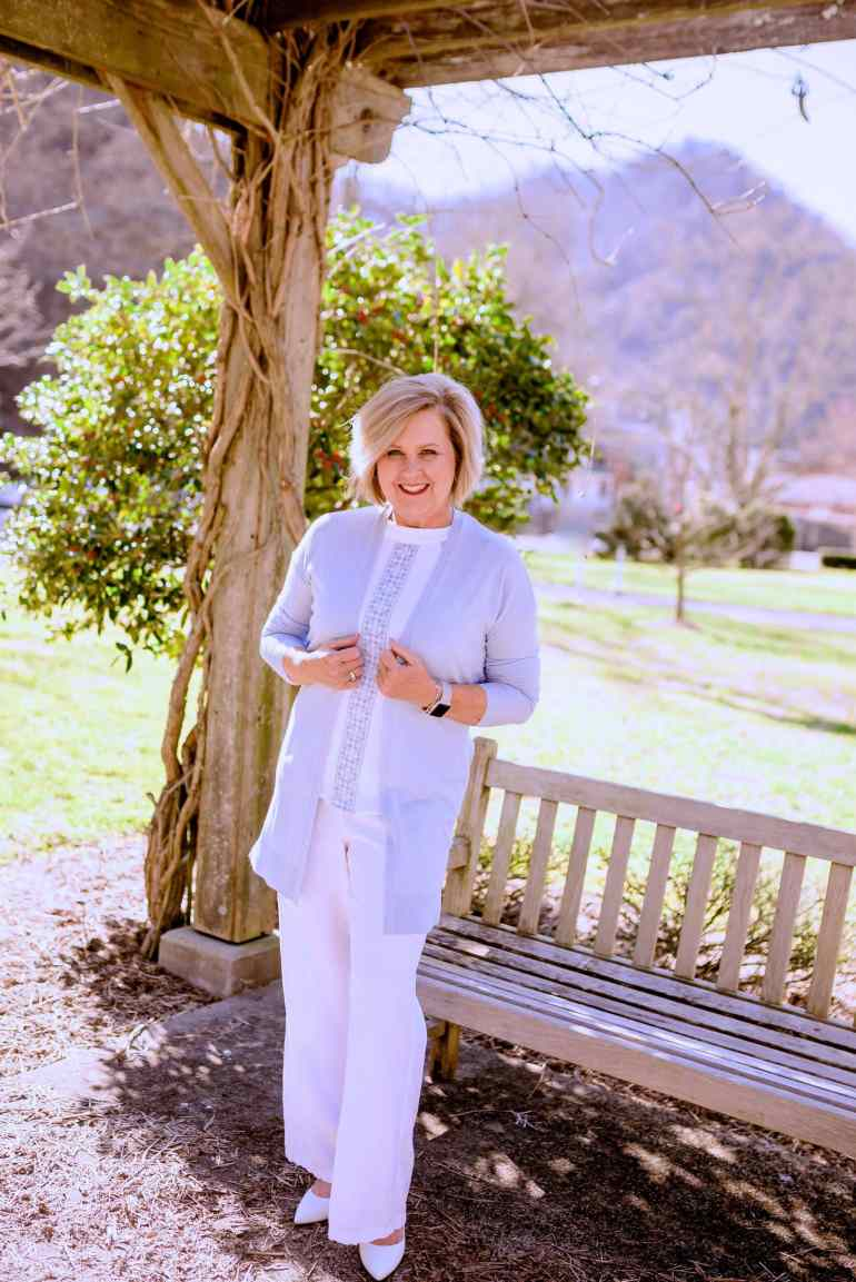 50 IS NOT OLD | PALE BLUE IS PERFECT FOR SPRING | FASHION OVER 40