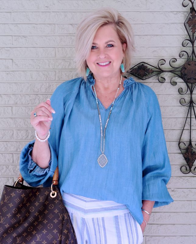 50 IS NOT OLD | STYLING A ROMANTIC TOP OVER 40 | FASHION OVER 40