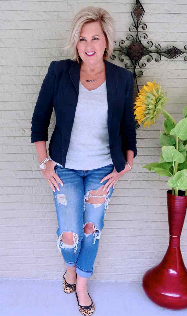 50 IS NOT OLD | DISTRESSED JEANS AND A BLAZER | FASHION OVER 40