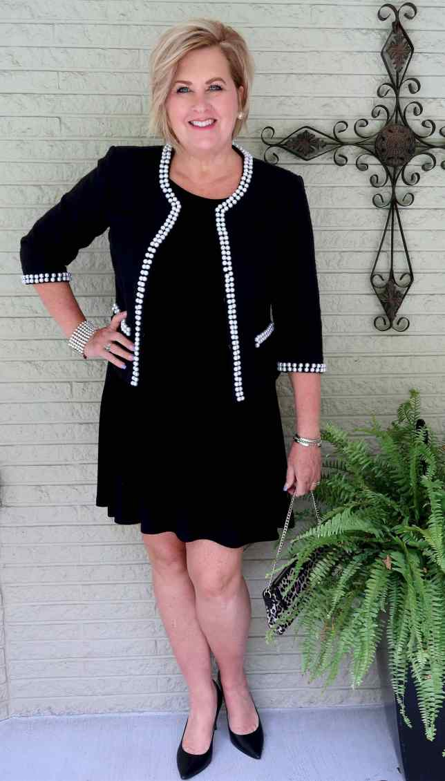 50 IS NOT OLD | A LITTLE BLACK DRESS WITH A STATEMENT JACKET | FASHION OVER 40