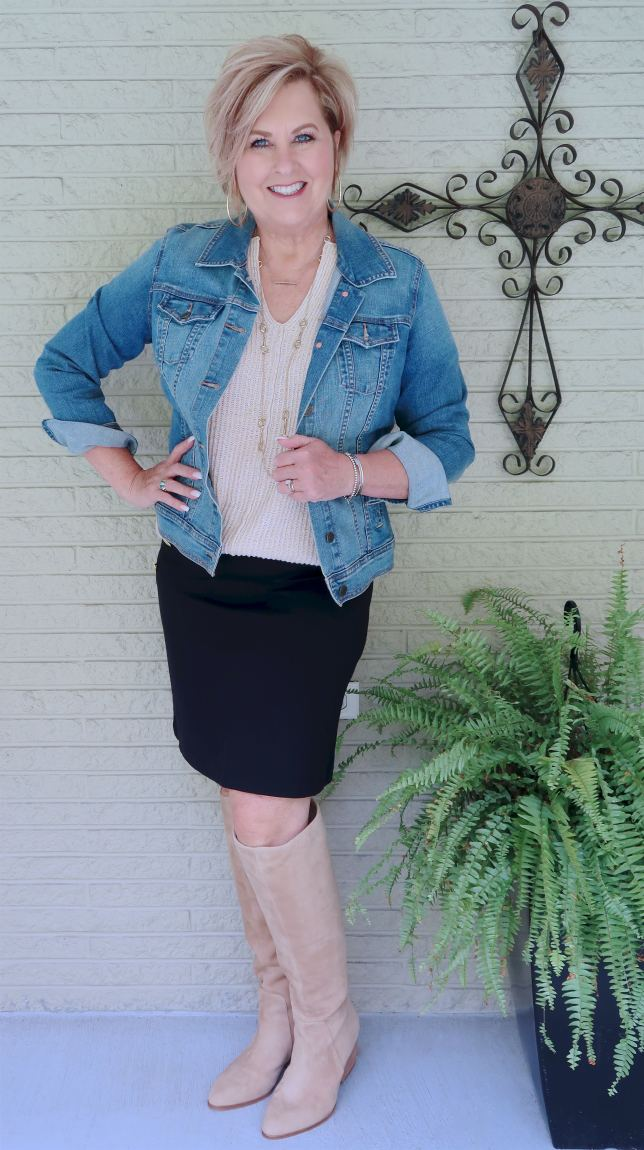 50 IS NOT OLD | A DENIM JACKET AND KNEE HIGH BOOTS | FASHION OVER 40