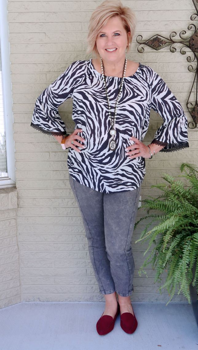 50 IS NOT OLD   BLACK AND WHITE STRIPED TOP WITH JEANS   FASHION OVER 40