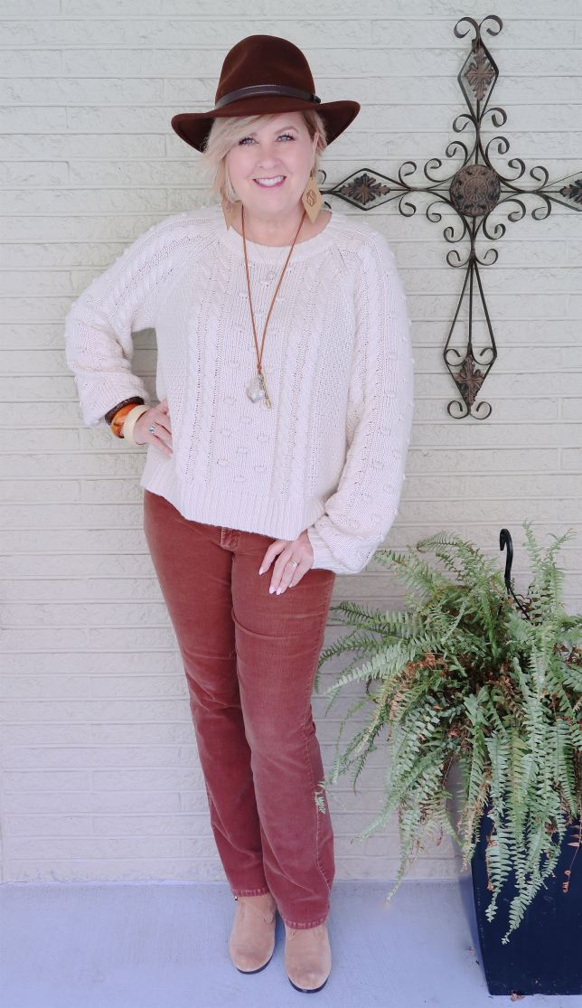 50 IS NOT OLD | CLASSIC CABLE KNIT SWEATER AND CORDS | FASHION OVER 40