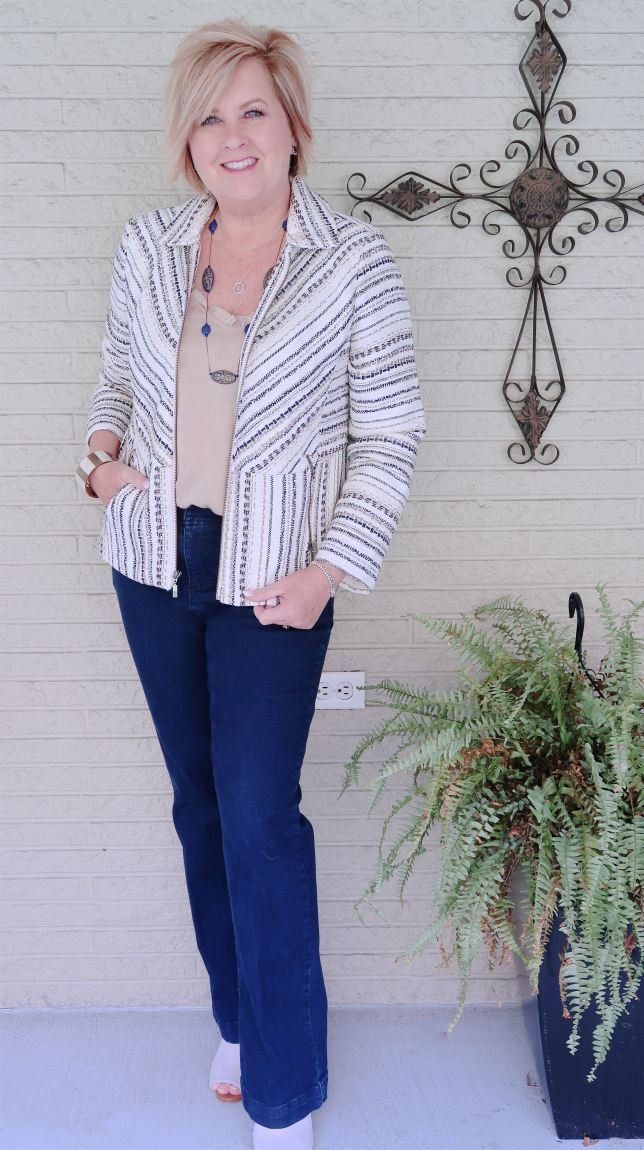 50 IS NOT OLD   TWEED JACKET WITH BOOTCUT JEANS FOR FALL   FASHION OVER 40