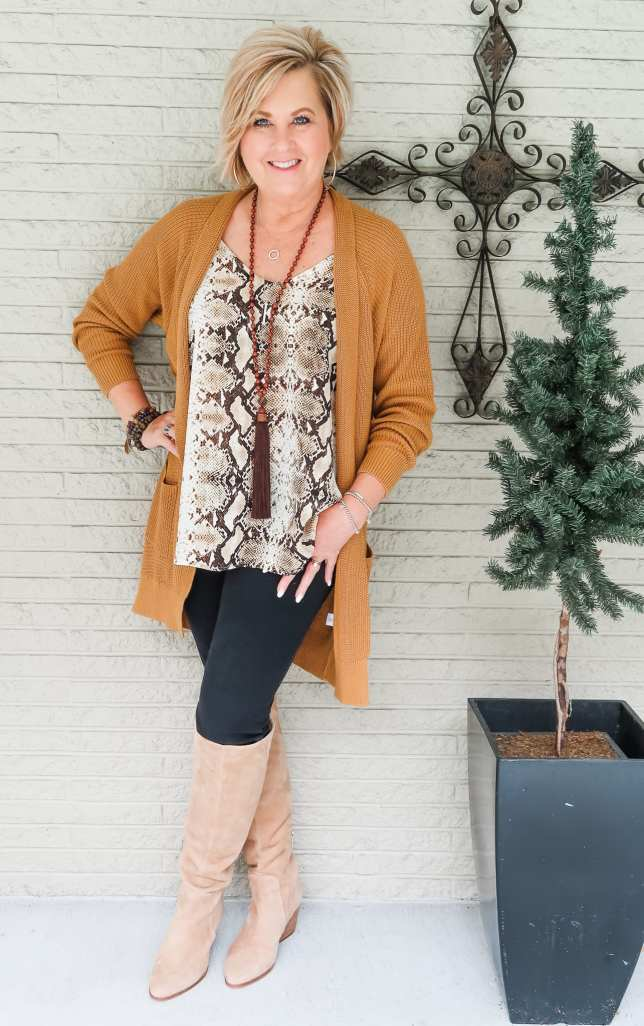 Snakeskin top with Knee Boots