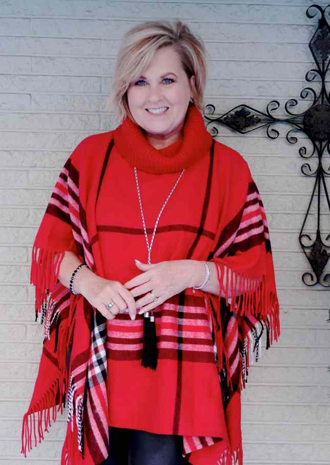 50 IS NOT OLD   HOW TO STYLE A PONCHO FOR A CASUAL FALL LOOK   FASHION OVER 40