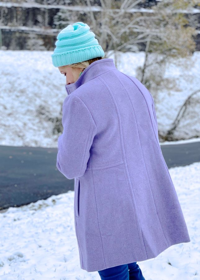 Purple coat with a fitted style