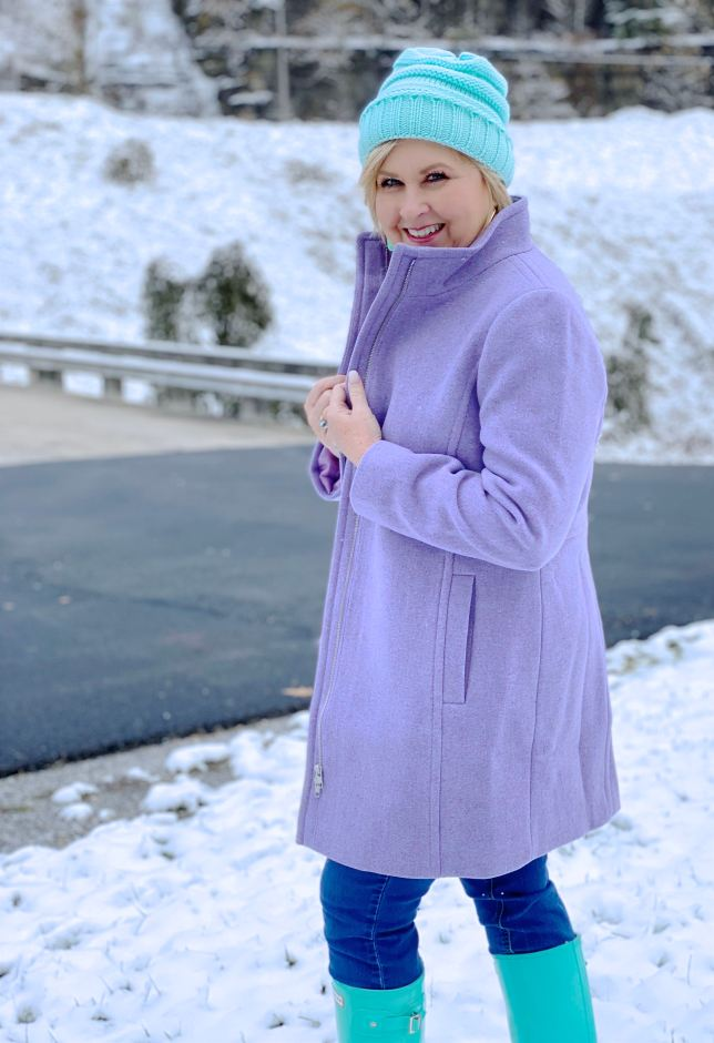 Staying warm in winter with a purple coat