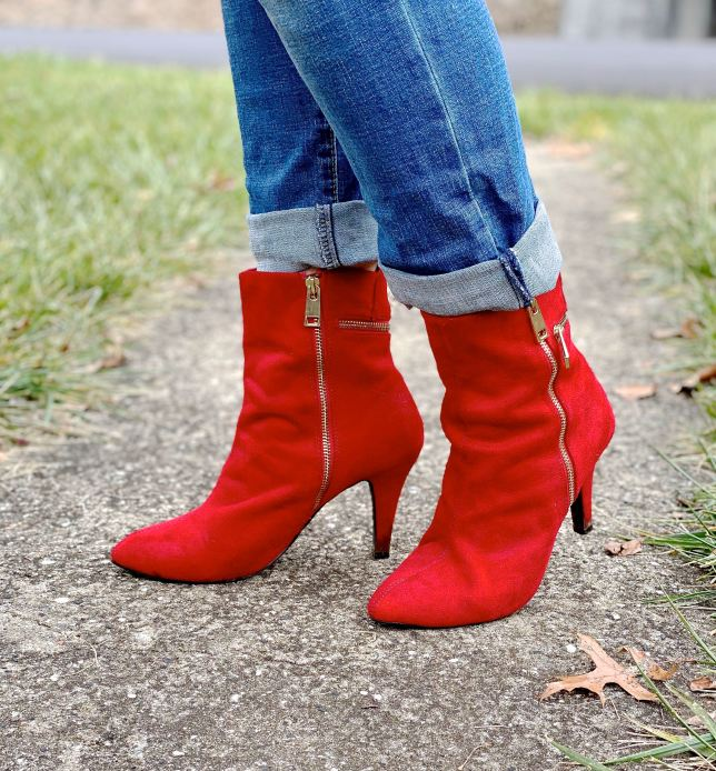 red boots with zipper