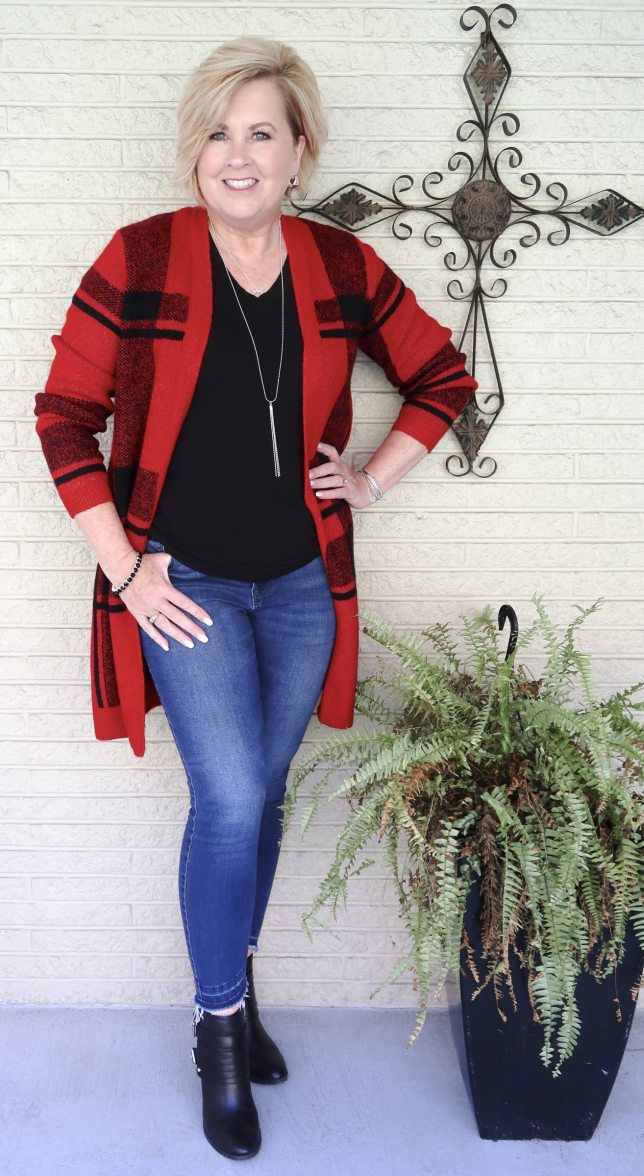 Buffalo Plaid Cardigan with ankle boots