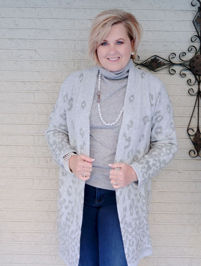 Gray Cardigan worn by Fashion Blogger 50 Is Not Old