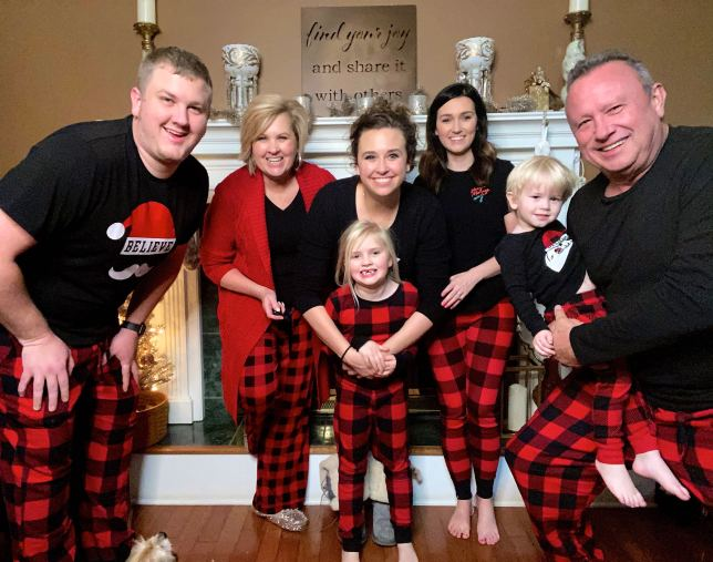 Fashion Blogger 50 is not old and family in plaid pajamas