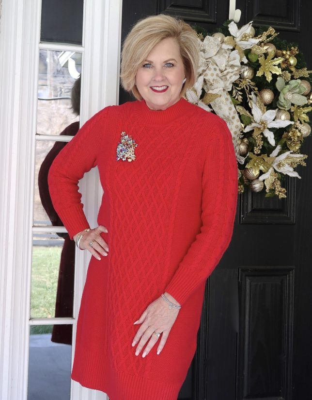 Fashion Blogger 50 is not old wearing a red sweater dress from Old Navy