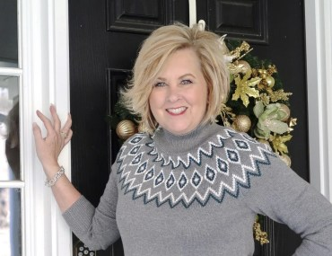 Fashion Blogger 50 Is Not Old wearing a gray Fairisle sweater