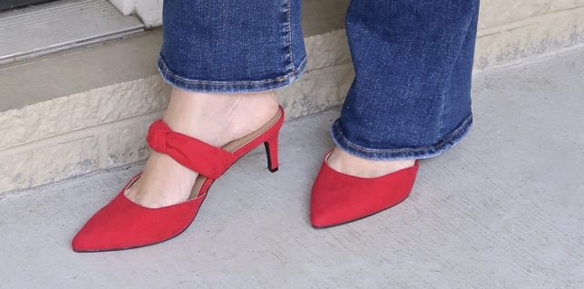 FASHION BLOGGER 50 Is Not Old styles red bow mules with flare jeans