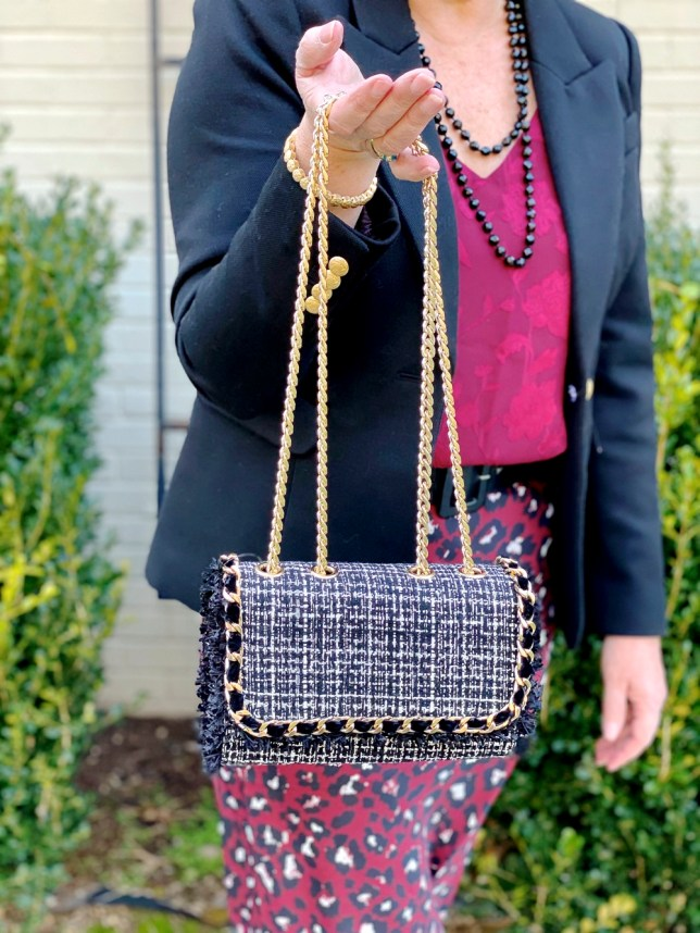 Outfit for an office setting by fashion blogger 50 is not old. A black tweed handbag from Chicos with a gold chain